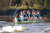 The Boat Race season 2014 - Women's Trial VIIIs(CUWBC, Cambridge): Nudge Nudge: Cox Esther Momcilovic, Stroke Holly Game,7 Izzy Vyvyan, 6 Kate Ashley, 5 Valentina Futoryanova, 4 Catherine Foot, 3 Hannah Evans, 2 Anouska Bartlett, Bow Lottie Meggitt.. River Thames between Putney Bridge and Mortlake, London SW15,  United Kingdom, on 19 December 2013 at 14:23, image #534