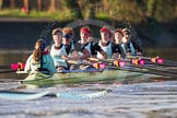 The Boat Race season 2014 - Women's Trial VIIIs(CUWBC, Cambridge): Nudge Nudge: Cox Esther Momcilovic, Stroke Holly Game,7 Izzy Vyvyan, 6 Kate Ashley, 5 Valentina Futoryanova, 4 Catherine Foot, 3 Hannah Evans, 2 Anouska Bartlett, Bow Lottie Meggitt.. River Thames between Putney Bridge and Mortlake, London SW15,  United Kingdom, on 19 December 2013 at 14:23, image #535