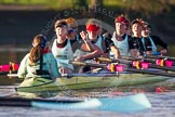 The Boat Race season 2014 - Women's Trial VIIIs(CUWBC, Cambridge): Nudge Nudge: Cox Esther Momcilovic, Stroke Holly Game,7 Izzy Vyvyan, 6 Kate Ashley, 5 Valentina Futoryanova, 4 Catherine Foot, 3 Hannah Evans, 2 Anouska Bartlett, Bow Lottie Meggitt.. River Thames between Putney Bridge and Mortlake, London SW15,  United Kingdom, on 19 December 2013 at 14:23, image #536