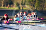 The Boat Race season 2014 - Women's Trial VIIIs(CUWBC, Cambridge): Nudge Nudge: Cox Esther Momcilovic, Stroke Holly Game,7 Izzy Vyvyan, 6 Kate Ashley, 5 Valentina Futoryanova, 4 Catherine Foot, 3 Hannah Evans, 2 Anouska Bartlett, Bow Lottie Meggitt.. River Thames between Putney Bridge and Mortlake, London SW15,  United Kingdom, on 19 December 2013 at 14:23, image #538