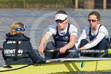 The Boat Race season 2014 - fixture OUWBC vs Molesey BC: The OUWBC Eight: Cox Erin Wysocki-Jones, stroke Laura Savarese and 7 Anastasia Chitty..     on 01 March 2014 at 12:27, image #38