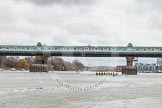 The Boat Race season 2014 - fixture CUWBC vs Thames RC: The Cambridge boat (left) and the Thames RC boat (right) waiting for the start of the race near Putney Bridge..     on 02 March 2014 at 13:08, image #26