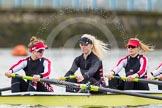 The Boat Race season 2014 - fixture CUWBC vs Thames RC: In the Thames RC boat 7 Bea Sheldrix, 6 Lauren Clark, 5 Sarah Jones..     on 02 March 2014 at 13:09, image #31