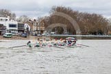 The Boat Race season 2014 - fixture CUWBC vs Thames RC: The leading Cambridge boat passing the Putney boat houses..     on 02 March 2014 at 13:11, image #52
