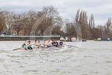 The Boat Race season 2014 - fixture CUWBC vs Thames RC: The leading Cambridge boat just having passed the Putney boat houses..     on 02 March 2014 at 13:11, image #55