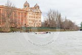 The Boat Race season 2014 - fixture CUWBC vs Thames RC: The Cambridge boat, in the lead over Thames RC, passing the Harrods Depository..     on 02 March 2014 at 13:16, image #113