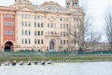The Boat Race season 2014 - fixture CUWBC vs Thames RC: The Thames RC boat passing the Harrods Depository..     on 02 March 2014 at 13:16, image #114