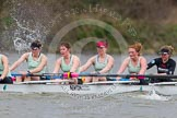 The Boat Race season 2014 - fixture CUWBC vs Thames RC: In the Cambridge boat 7 Claire Watkins, 6 Melissa Wilson, 5 Catherine Foot, 4 Izzy Vyvyan, 3 Holly Game..     on 02 March 2014 at 13:17, image #117