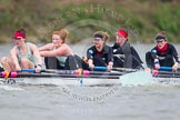The Boat Race season 2014 - fixture CUWBC vs Thames RC: In the Cambridge boat 5 Catherine Foot, 4 Izzy Vyvyan, 3 Holly Game, 2 Kate Ashley, bow Caroline Reid..     on 02 March 2014 at 13:17, image #120