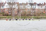 The Boat Race season 2014 - fixture CUWBC vs Thames RC: The Thames RC boat between Harrods Depository and Hammersmith Bridge..     on 02 March 2014 at 13:17, image #122