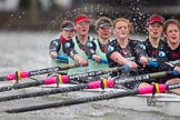 The Boat Race season 2014 - fixture CUWBC vs Thames RC: In the Cambridge boat at bow Caroline Reid, 2 Kate Ashley, 3 Holly Game, 4 Izzy Vyvyan, 5 Catherine Foot, 6 Melissa Wilson..     on 02 March 2014 at 14:02, image #175