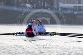 The Boat Race season 2014 - fixture OUBC vs German U23: The German U23 boat waiting under Putney Bridge.. River Thames between Putney Bridge and Chiswick Bridge,    on 08 March 2014 at 16:42, image #18