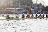 The Boat Race season 2014 - fixture OUBC vs German U23: The race is on - the German U23-boat, on the left, and the OUBC boat approaching Putney Pier.. River Thames between Putney Bridge and Chiswick Bridge,    on 08 March 2014 at 16:45, image #32