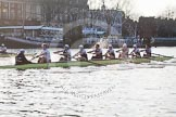 The Boat Race season 2014 - fixture OUBC vs German U23: The race is on - the German U23-boat, on the left, and the OUBC boat approaching Putney Pier.. River Thames between Putney Bridge and Chiswick Bridge,    on 08 March 2014 at 16:45, image #33