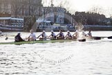 The Boat Race season 2014 - fixture OUBC vs German U23: The race is on - the German U23-boat, on the left, and the OUBC boat approaching Putney Pier.. River Thames between Putney Bridge and Chiswick Bridge,    on 08 March 2014 at 16:45, image #34