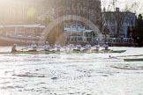 The Boat Race season 2014 - fixture OUBC vs German U23: The race is on - the German U23-boat, on the left, and the OUBC boat approaching Putney Pier.. River Thames between Putney Bridge and Chiswick Bridge,    on 08 March 2014 at 16:46, image #35