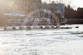 The Boat Race season 2014 - fixture OUBC vs German U23: The race is on - the German U23-boat, on the left, and the OUBC boat at Putney Pier.. River Thames between Putney Bridge and Chiswick Bridge,    on 08 March 2014 at 16:46, image #36