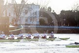 The Boat Race season 2014 - fixture OUBC vs German U23: The race is on - the German U23-boat, on the left, and the OUBC boat at Putney Pier.. River Thames between Putney Bridge and Chiswick Bridge,    on 08 March 2014 at 16:46, image #37