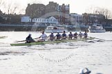 The Boat Race season 2014 - fixture OUBC vs German U23: The OUBC boat bewteen Putney Bridge and the boat houses.. River Thames between Putney Bridge and Chiswick Bridge,    on 08 March 2014 at 16:46, image #38