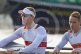 The Boat Race season 2014 - fixture OUBC vs German U23: The German U23-boat:  6 Arne Schwiethal, 5 Johannes Weissenfeld.. River Thames between Putney Bridge and Chiswick Bridge,    on 08 March 2014 at 16:46, image #46