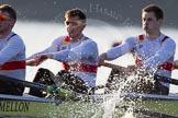 The Boat Race season 2014 - fixture OUBC vs German U23: The German U23-boat: 5 Johannes Weissenfeld, 4 Maximilian Korge, 3 Malte Daberkow.. River Thames between Putney Bridge and Chiswick Bridge,    on 08 March 2014 at 16:46, image #49