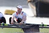 The Boat Race season 2014 - fixture OUBC vs German U23: The German U23-boat: Bow Jonas Wiesen.. River Thames between Putney Bridge and Chiswick Bridge,    on 08 March 2014 at 16:46, image #52