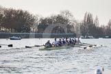 The Boat Race season 2014 - fixture OUBC vs German U23: The OUBC boat in the lead, the German U23 boat on the left at the Putney boat houses.. River Thames between Putney Bridge and Chiswick Bridge,    on 08 March 2014 at 16:46, image #56