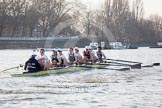The Boat Race season 2014 - fixture OUBC vs German U23: The German U23-boat at the Putney boat houses.. River Thames between Putney Bridge and Chiswick Bridge,    on 08 March 2014 at 16:47, image #57