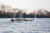 The Boat Race season 2014 - fixture OUBC vs German U23: The OUBC boat near the Mile Post.. River Thames between Putney Bridge and Chiswick Bridge,    on 08 March 2014 at 16:48, image #87