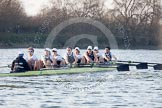 The Boat Race season 2014 - fixture OUBC vs German U23: The OUBC boat near the Mile Post.. River Thames between Putney Bridge and Chiswick Bridge,    on 08 March 2014 at 16:49, image #90