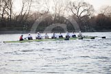 The Boat Race season 2014 - fixture OUBC vs German U23: The German U23-boat approaching the Mile Post.. River Thames between Putney Bridge and Chiswick Bridge,    on 08 March 2014 at 16:49, image #91