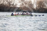 The Boat Race season 2014 - fixture OUBC vs German U23: The OUBC boat near the Mile Post.. River Thames between Putney Bridge and Chiswick Bridge,    on 08 March 2014 at 16:49, image #92