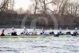 The Boat Race season 2014 - fixture OUBC vs German U23: The German U23-boat approaching the Mile Post.. River Thames between Putney Bridge and Chiswick Bridge,    on 08 March 2014 at 16:49, image #94