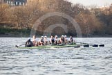 The Boat Race season 2014 - fixture OUBC vs German U23: The OUBC boat approaching the Harrods Depository.. River Thames between Putney Bridge and Chiswick Bridge,    on 08 March 2014 at 16:50, image #96