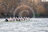 The Boat Race season 2014 - fixture OUBC vs German U23: The OUBC boat approaching the Harrods Depository.. River Thames between Putney Bridge and Chiswick Bridge,    on 08 March 2014 at 16:50, image #99