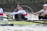 The Boat Race season 2014 - fixture OUBC vs German U23: The German U23-boat: 2 Finn Knuppel, bow Jonas Wiesen.. River Thames between Putney Bridge and Chiswick Bridge,    on 08 March 2014 at 16:51, image #102