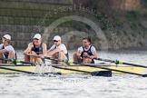 The Boat Race season 2014 - fixture OUBC vs German U23: The OUBC boat: 4 Thomas Swartz, 3 Karl Hudspith, 2 Chris Fairweather, bow Storm Uru.. River Thames between Putney Bridge and Chiswick Bridge,    on 08 March 2014 at 16:51, image #107