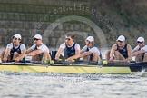 The Boat Race season 2014 - fixture OUBC vs German U23: The OUBC boat: 7 Sam O'Connor, 6 Michael Di Santo, 5 Malcolm Howard, 4 Thomas Swartz, 3 Karl Hudspith, 2 Chris Fairweather.. River Thames between Putney Bridge and Chiswick Bridge,    on 08 March 2014 at 16:51, image #108
