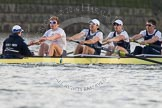 The Boat Race season 2014 - fixture OUBC vs German U23: The OUBC boat: Cox Laurence Harvey, stroke Constantine Louloudis, 7 Sam O'Connor, 6 Michael Di Santo, 5 Malcolm Howard.. River Thames between Putney Bridge and Chiswick Bridge,    on 08 March 2014 at 16:51, image #109