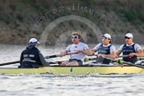 The Boat Race season 2014 - fixture OUBC vs German U23: The OUBC boat: Cox Laurence Harvey, stroke Constantine Louloudis, 7 Sam O'Connor, 6 Michael Di Santo.. River Thames between Putney Bridge and Chiswick Bridge,    on 08 March 2014 at 16:51, image #111