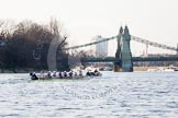 The Boat Race season 2014 - fixture OUBC vs German U23: The OUBC boat approaching Hammersmith Bridge, another boat getting out of the way.. River Thames between Putney Bridge and Chiswick Bridge,    on 08 March 2014 at 16:52, image #112
