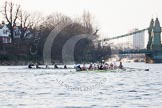 The Boat Race season 2014 - fixture OUBC vs German U23: The OUBC boat approaching Hammersmith Bridge, another boat getting out of the way.. River Thames between Putney Bridge and Chiswick Bridge,    on 08 March 2014 at 16:52, image #113