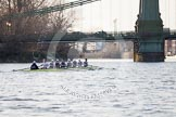 The Boat Race season 2014 - fixture OUBC vs German U23: The OUBC boat approaching Hammersmith Bridge.. River Thames between Putney Bridge and Chiswick Bridge,    on 08 March 2014 at 16:52, image #114
