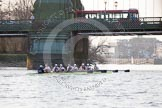 The Boat Race season 2014 - fixture OUBC vs German U23: The OUBC boat at Hammersmith Bridge.. River Thames between Putney Bridge and Chiswick Bridge,    on 08 March 2014 at 16:53, image #115