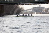 The Boat Race season 2014 - fixture OUBC vs German U23: The OUBC boat at Hammersmith Bridge.. River Thames between Putney Bridge and Chiswick Bridge,    on 08 March 2014 at 16:53, image #116