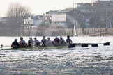 The Boat Race season 2014 - fixture OUBC vs German U23: The OUBC boat in the shadow of Hammersmith Bridge.. River Thames between Putney Bridge and Chiswick Bridge,    on 08 March 2014 at 16:53, image #118