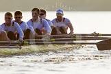 The Boat Race season 2014 - fixture OUBC vs German U23: The German U23-boat: 5 Johannes Weissenfeld, 4 Maximilian Korge, 3 Malte Daberkow, 2 Finn Knuppel, bow Jonas Wiesen.. River Thames between Putney Bridge and Chiswick Bridge,    on 08 March 2014 at 16:55, image #139