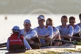 The Boat Race season 2014 - fixture OUBC vs German U23: The German U23-boat: Cox Torben Johannesen, stroke Eike Kutzki, 7 Ole Schwiethal, 6 Arne Schwiethal, 5 Johannes Weissenfeld, 4 Maximilian Korge.. River Thames between Putney Bridge and Chiswick Bridge,    on 08 March 2014 at 16:55, image #147