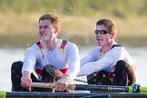 The Boat Race season 2014 - fixture OUBC vs German U23: The German U23-boat: 3 Malte Daberkow, 2 Finn Knuppel.. River Thames between Putney Bridge and Chiswick Bridge,    on 08 March 2014 at 16:56, image #155