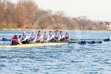 The Boat Race season 2014 - fixture OUBC vs German U23: The German U23 boat at the start of the second race.. River Thames between Putney Bridge and Chiswick Bridge,    on 08 March 2014 at 17:04, image #211